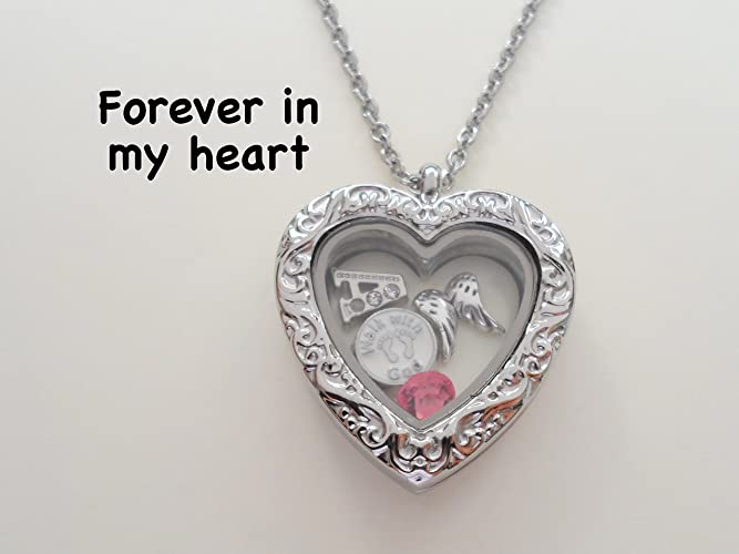 Amazon custom forever in my heart floating charm locket custom forever in my heart floating charm locket necklace with selected charms infant loss gift aloadofball Gallery