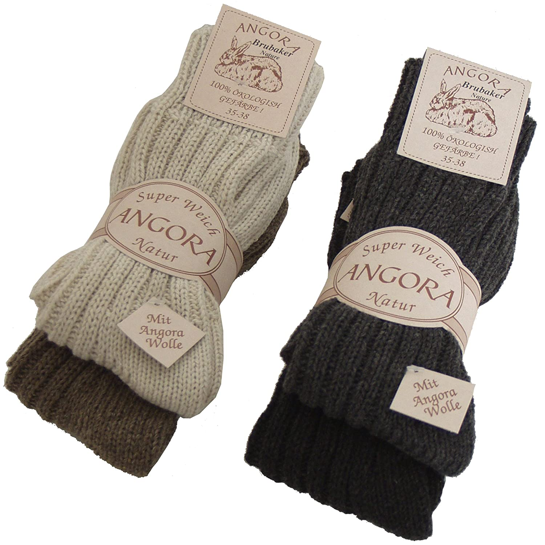BRUBAKER Damen oder Herren Wolle Angora Socken 4 Paar Grau Braun Töne