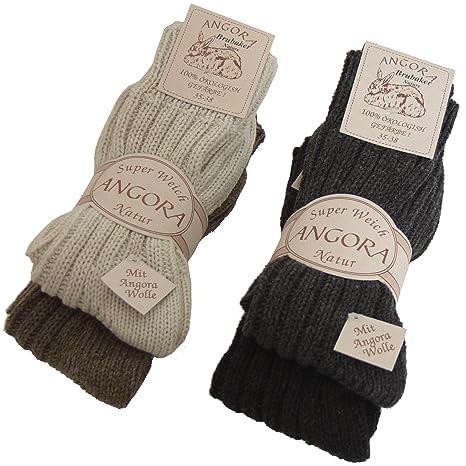 Brubaker - Calcetines unisex (4 pares, lana y angora), color marrón,
