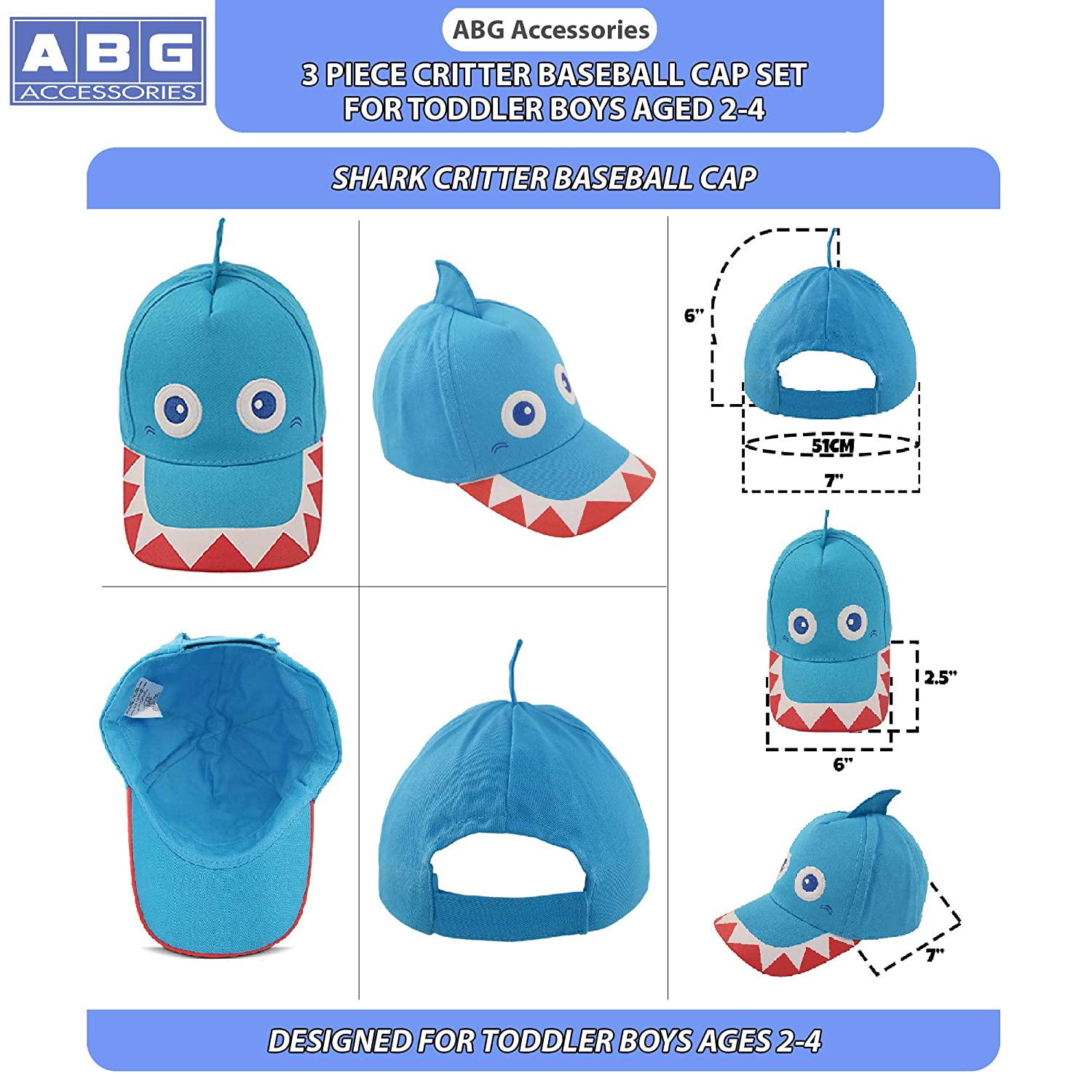 9c9bcbf4 Amazon.com: ABG Accessories Toddler Boys Cotton Baseball Cap with Assorted Animal  Critter Designs, Age 2-4 (3 Piece Variety Design Pack): Clothing