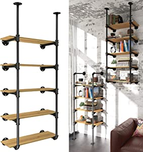 YITAHOME 5 Tier Pipe Shelves Wall Mounted Industrial Retro Iron Shelf, Open Pipe with Hanging Bracket, DIY Storage Shelves, Kitchen Shelves, Tool Shelves, Office Shelves, Bookshelves and Bookcases