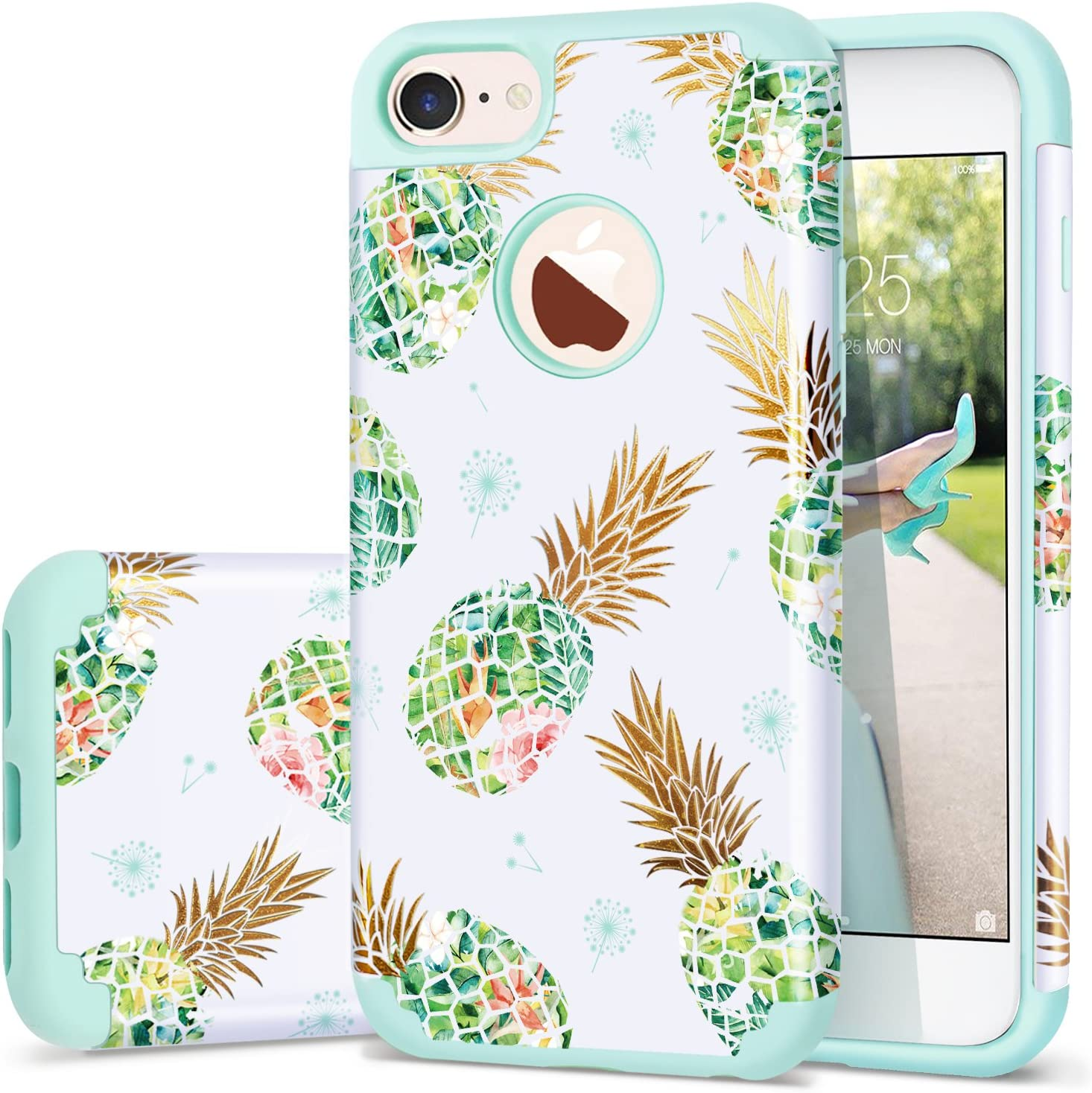 Fingic iPhone 8 Case,Pineapple iPhone 7 Case, Silicone Pineapple Design CASE Anti-Scratch Shock Proof Protective Summer Case 2 in1 Hybrid Skin Cover for iPhone 8/7 4.7 Inch,Green