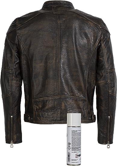 Gipsy Super modische Lederjacke mit tollem schwarzem Vintage Look Trendmodell vom Lifestylelabel gro/ßem Leder Wagner Impr/ägnierspray