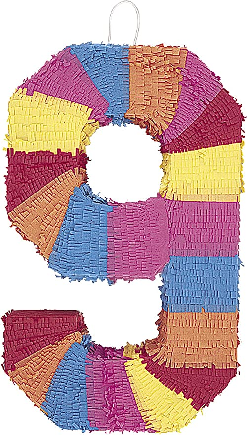 Small Multicolor Number 9 Pinata Perfect for Kids and Adult Birthday Party Celebration Number 9
