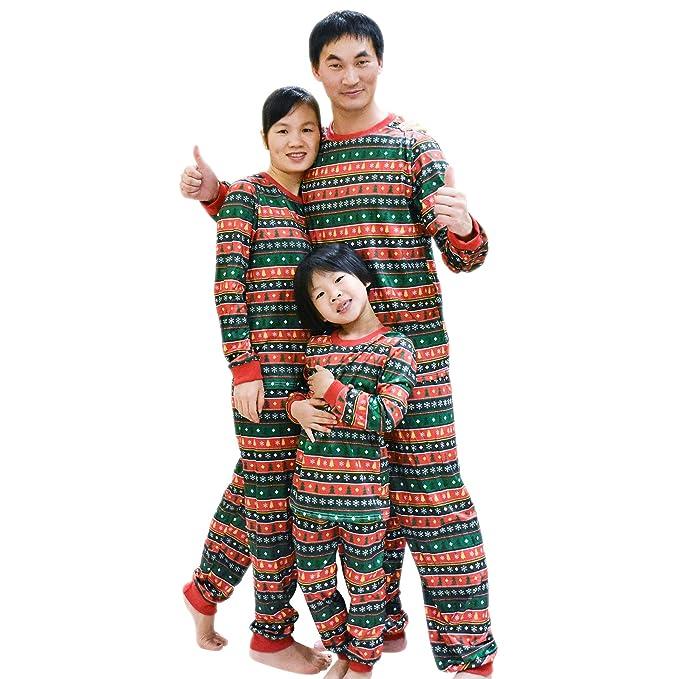 efe07dbe40 BOZEVON Manica Lunga Natale Pigiama Famiglia - Albero di Natale di  Corrispondenza Pigiama Top Pantaloni per