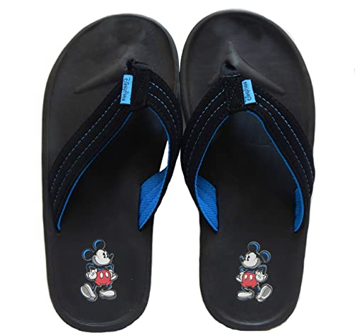 9c97966087aa6 Men s Disney Parks Mickey Mouse Black Flip Flop Thong Sandals (Small ...