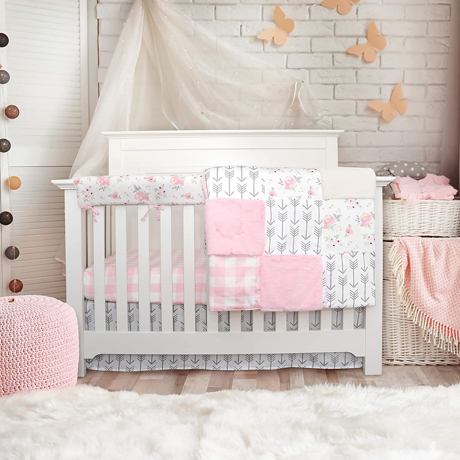 Crib bedding sets for girls - 4 Piece Floral Pink Plaid set for baby girl nursery decor | Quilt Blanket, Crib Sheet, Skirt and Rail Cover | Flowers Arrow Buffalo Plaid (4 piece Pink Floral Collection)