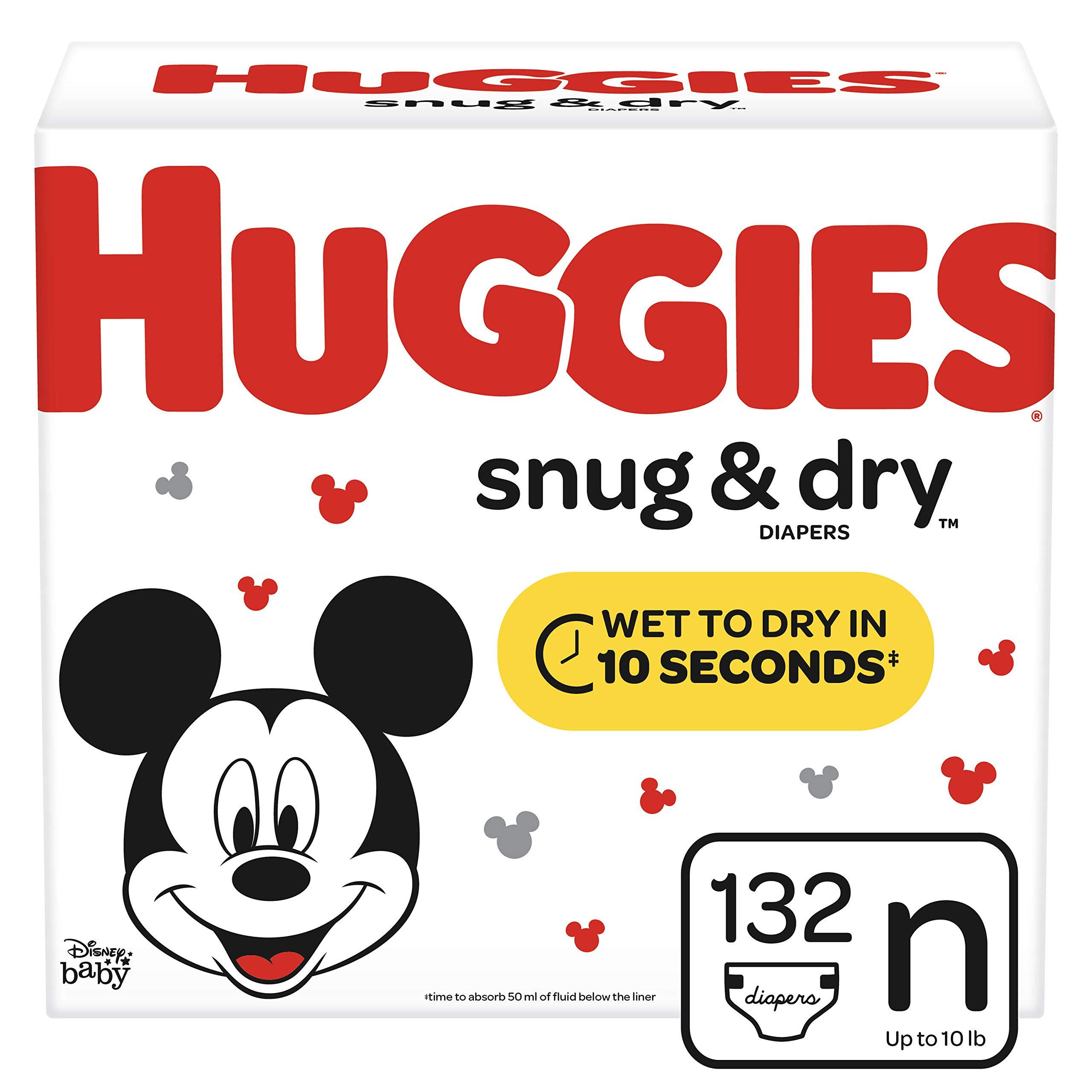 Huggies Snug & Dry Diapers, Size Newborn (up to 10 lb.), 132 Ct, Giga Jr Pack (Packaging May Vary) by HUGGIES