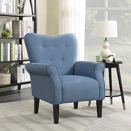Amazon Com Belleze Modern Accent Chair Roll Arm Linen Living Room