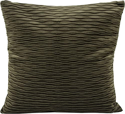 Fennco Styles Velvet Textured Accents 18 x 18 Inch Square Decorative Throw Pillow with Case Insert – Olive Decorative Pillow for Couch, Bedroom and Living Room D cor