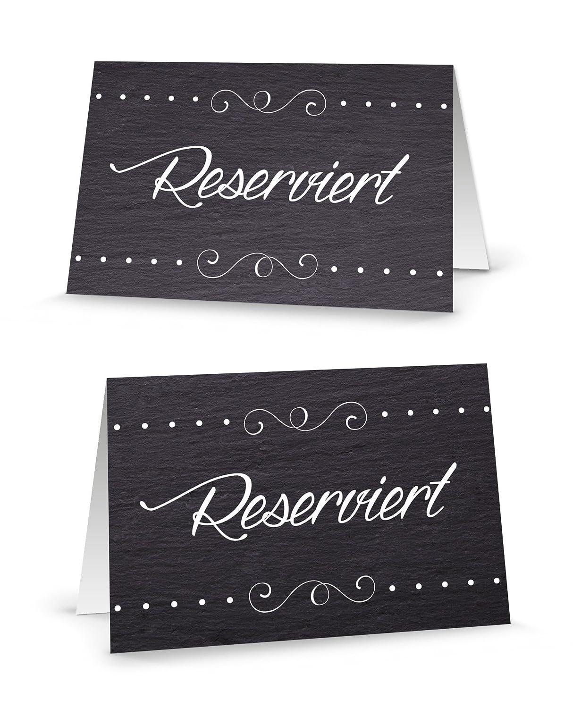 Lot de 50Table Panneaux austeller Étui de cartes de table Reserviert Noir et Blanc Classique Petite carte pour les élégant de Réservation des invités–Stylet écriture. Réservé a