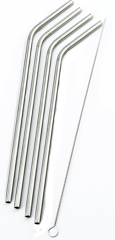 Amazon.com: 4 pajitas de acero inoxidable curvadas extra ...