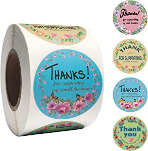 2 inch Round Floral Thank You for Supporting My Small Business Stickers 500Pcs,Gift Box Sticker,Invitation Sticker,Food Packaging Box/Bag/Bottle Sticker,Handmade Product Stickers,Thank You Stickers