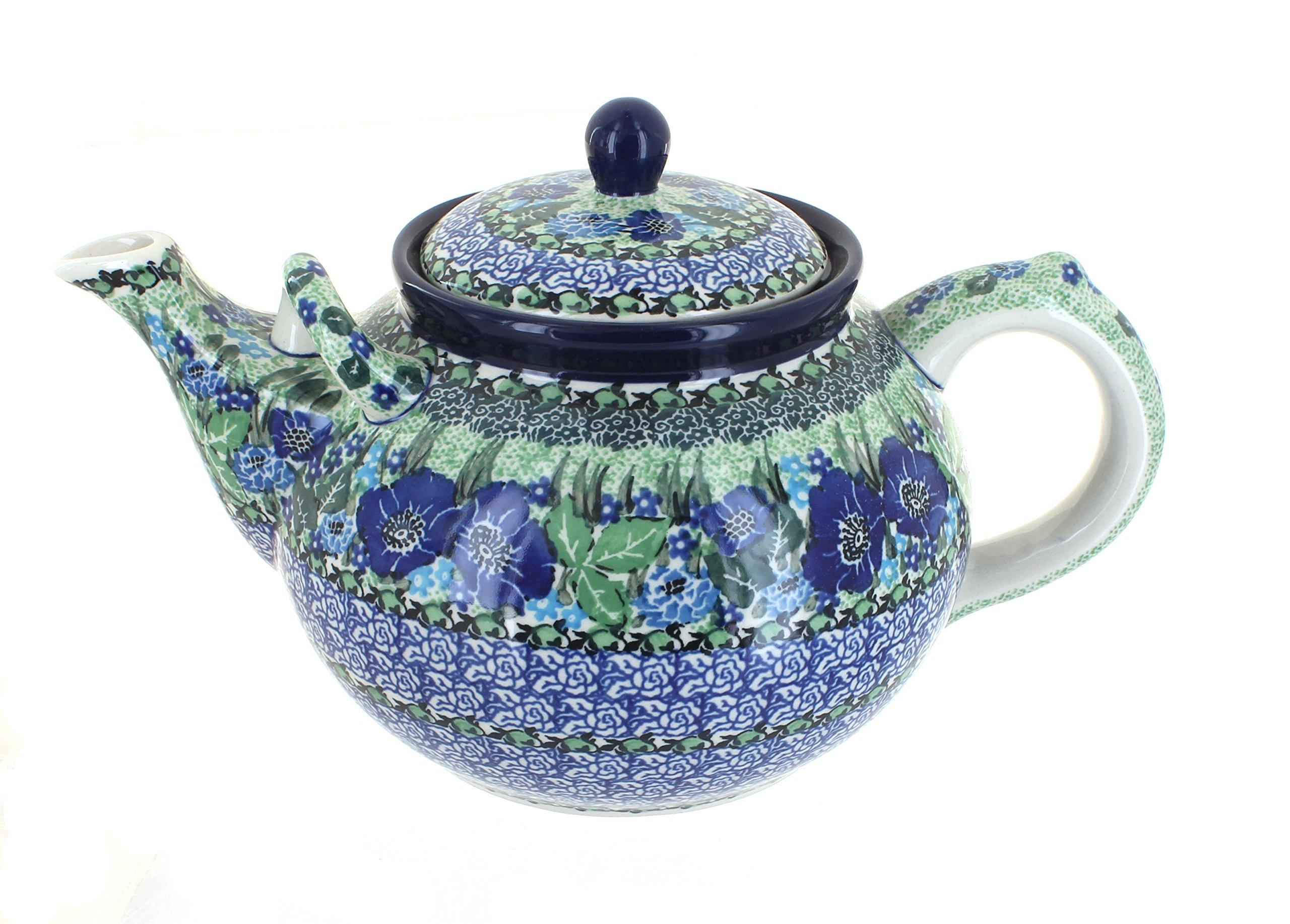 Polish Pottery Sapphire Fields Large Teapot