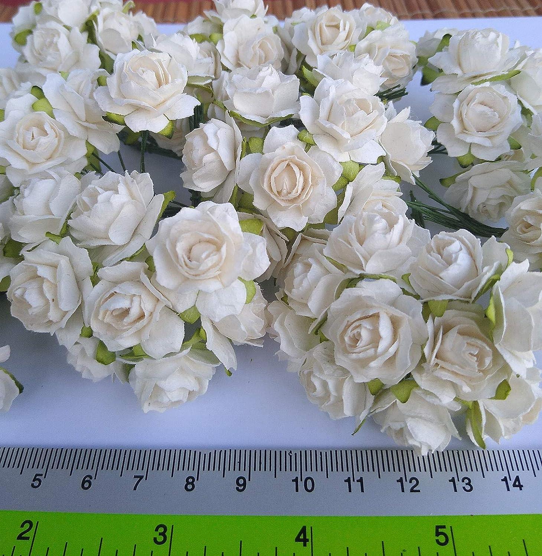 Canjerusof 144pcs Flor Artificial Exquisitas Rosas De Papel De Morera Mini Rosetas De Papel para La Invitaci/ón De La Boda De Scrapbooking DIY Embelishment Marfil