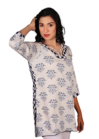 107d8ec4e9d Image Unavailable. Image not available for. Color: Women's Blue & White  Checkered/Flower Linen Tunic