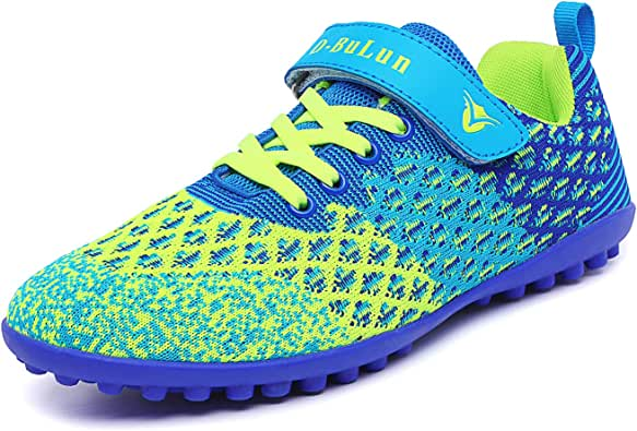 Lynxmko Unisex Kids Youth Athletic Lightweight Outdoor/Indoor Turf Comfortable Casual Cleats Soccer Shoes Girl/boy