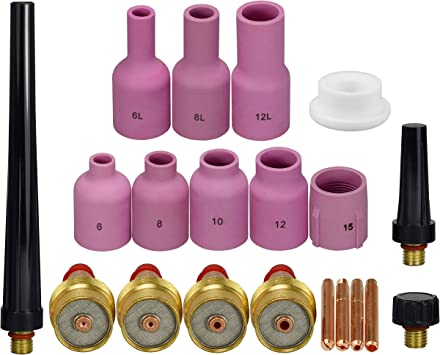 Assorted Alumina Nozzles for TIG Torches Series 9//20//25 with Gas Lens Set-Up