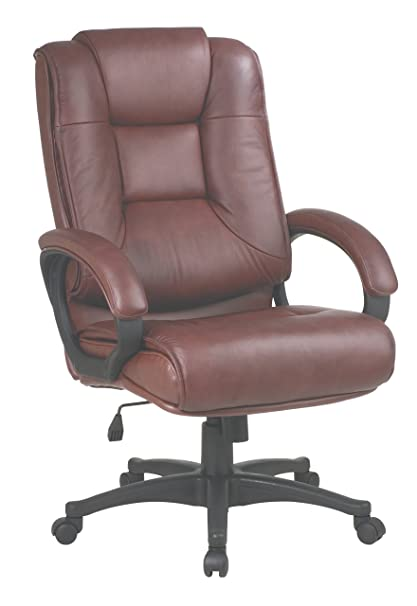 Superieur Office Star High Back Executive Leather Chair With Padded Loop Arms, Saddle