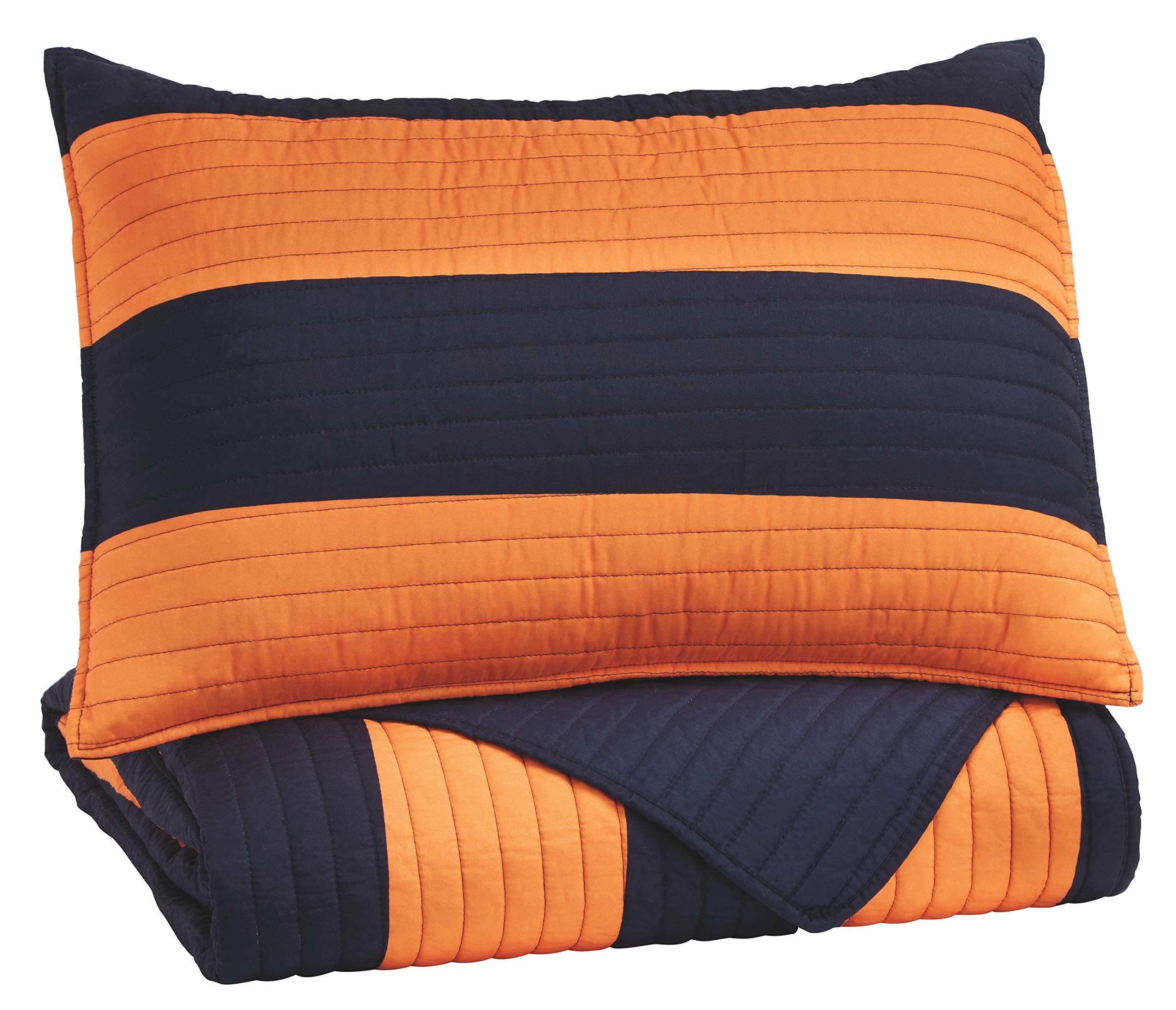 Ashley Furniture Signature Design - Nixon Coverlet Set - Twin - Youth - Orange/Navy by Signature Design by Ashley