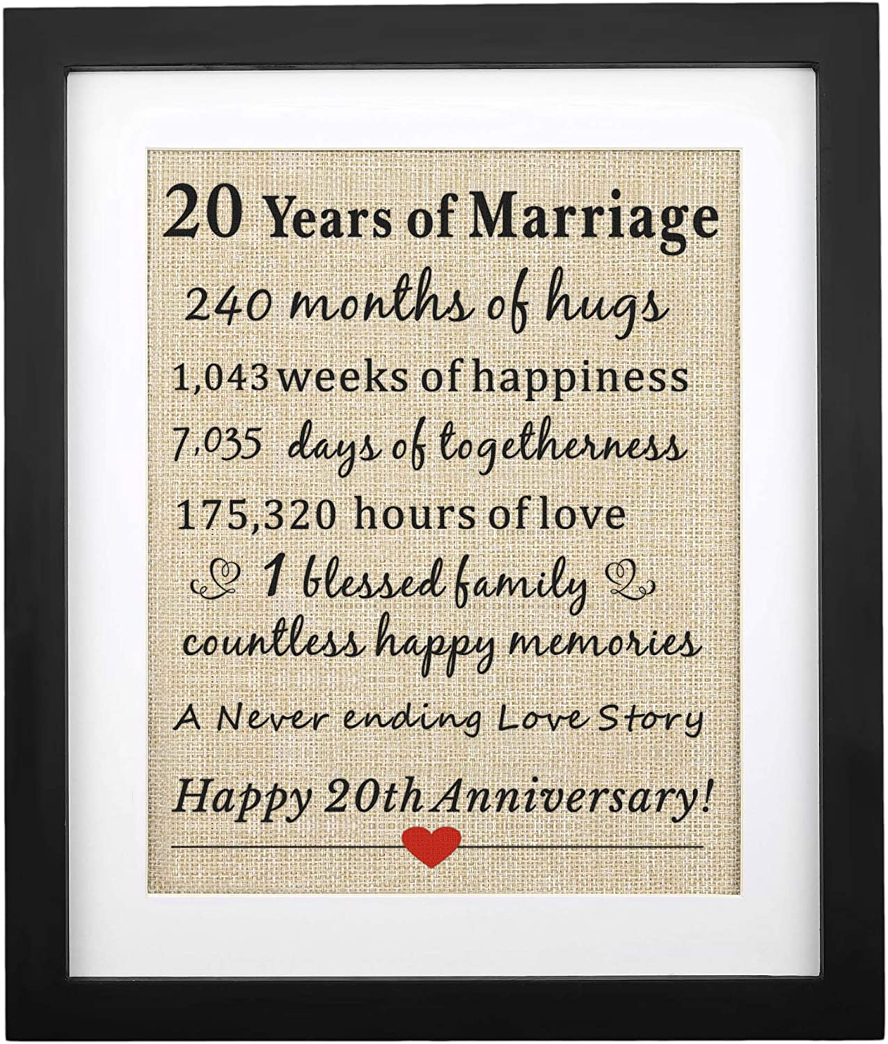Amazon Com Corfara Framed 20 Years Of Marriage Burlap Print Gifts For 20th Anniversary For Him Her 20th Wedding Anniversary Gift For Husband Wife Posters Prints