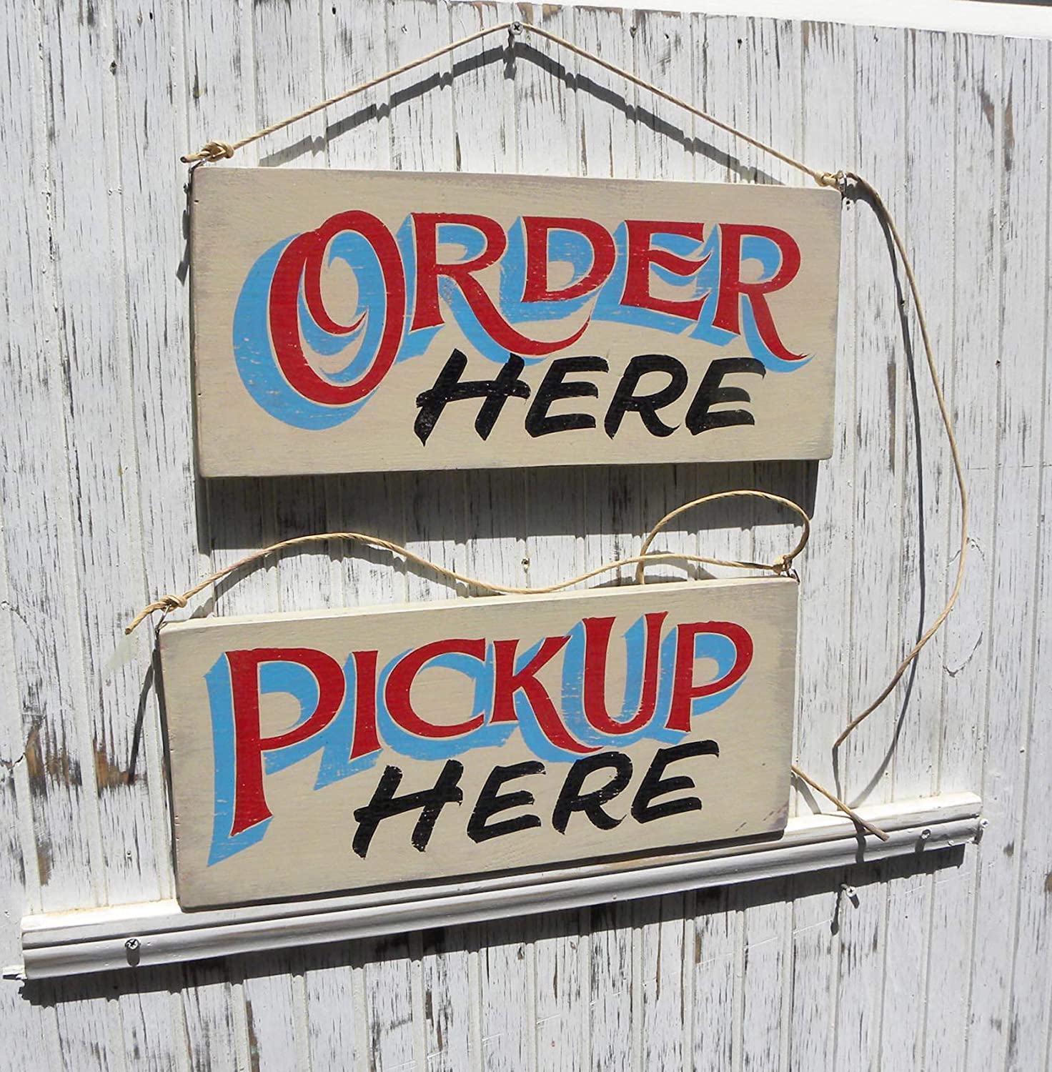 Blanche989 Order Here Pickup Here Signs Hand Painted Original Vintage Wooden Sign Directional Signs for Restaurant Food Truck Decor