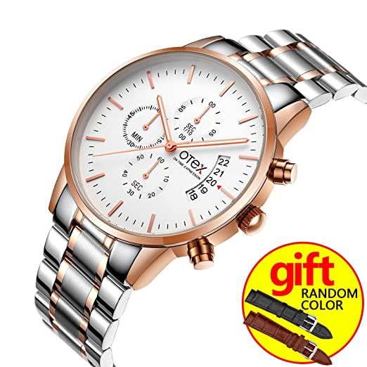 Hombres Negocios Reloj de acero marca lujo famoso Cronógrafo Relojes para hombre quartz-watch Relogio Masculino: Amazon.es: Relojes