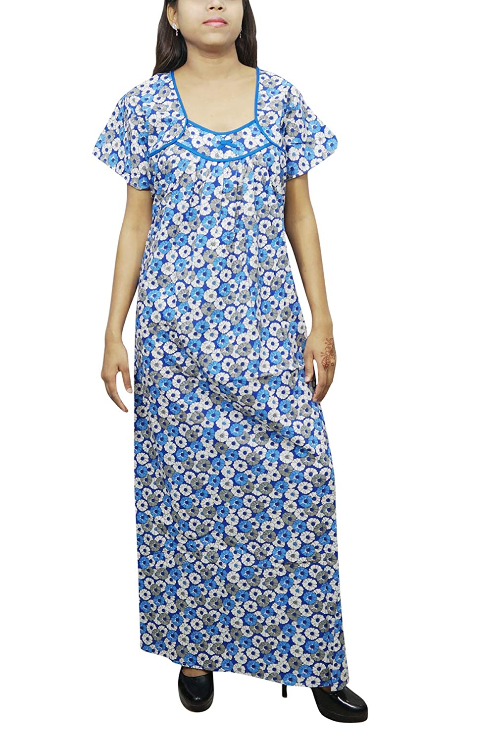 Indiatrendzs Women Cotton Nighty Floral Printed Loose Fit Comfy Nightgown  Maxi Dress (White Blue)  Amazon.in  Clothing   Accessories a49c91ac9