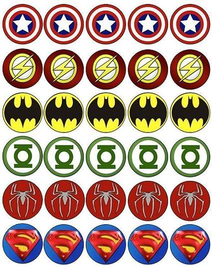 Amazon 30 X 15 Superhero Logos Edible Icing Cup Cakefairy