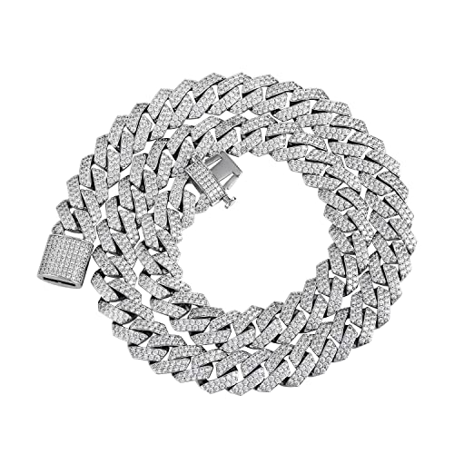 "Py Bling Hip Hop Mens Full Iced Out 15mm White Gold Plated Cz Miami Cuban Link Chain Choker 18"" 24"" Necklace And 8.5"" Bracelet by Py Bling"