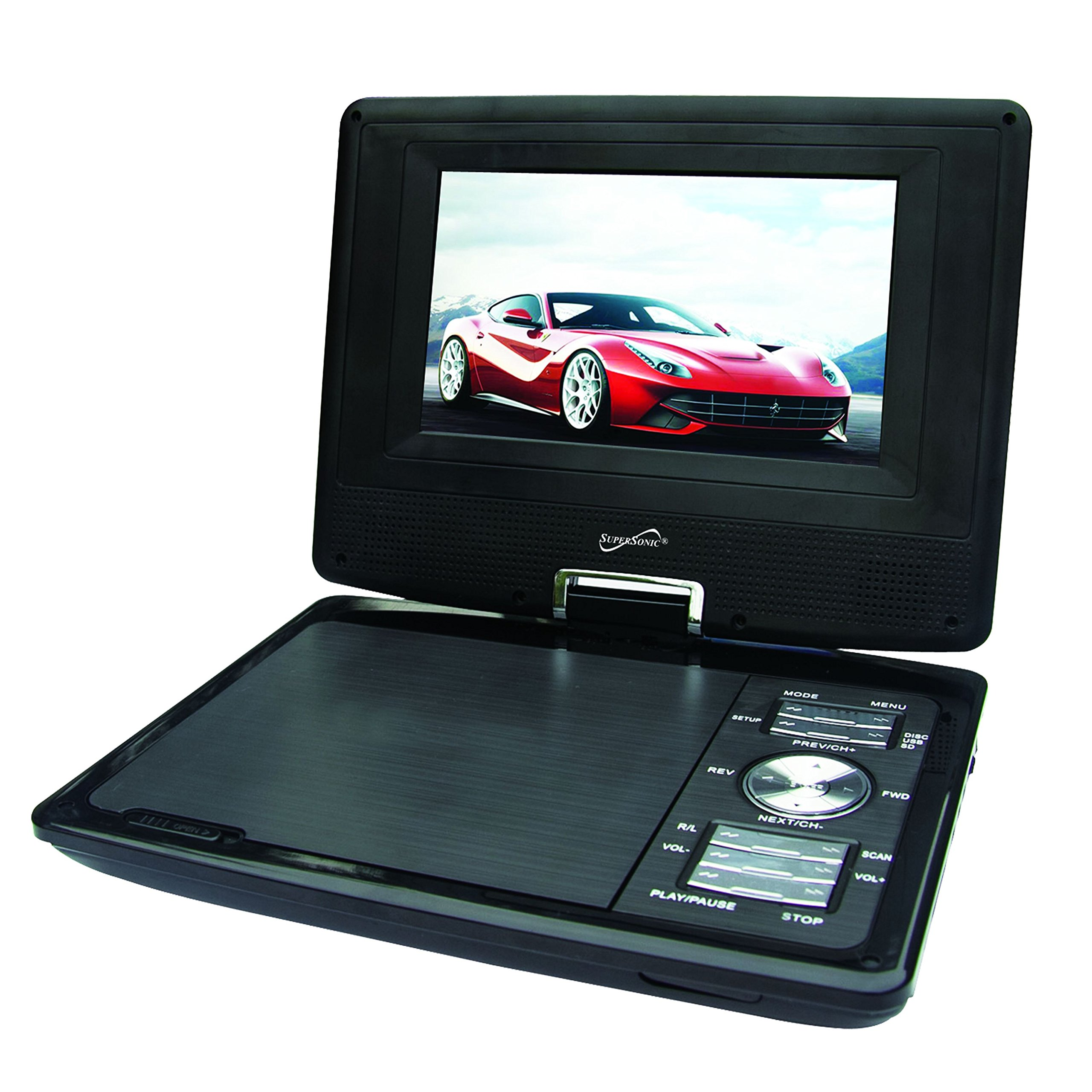 SuperSonic Portable TFT Swivel Display DVD Player with Digital TV Tuner, USB/SD Inputs and AC/DC Compatible for RVs, 7-Inch