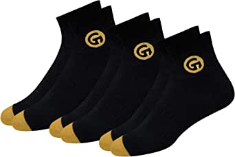 GLINTO Men's Premium Cushioned Cotton Athletic Quarter Socks, (3 or 6 packs,Free Size)