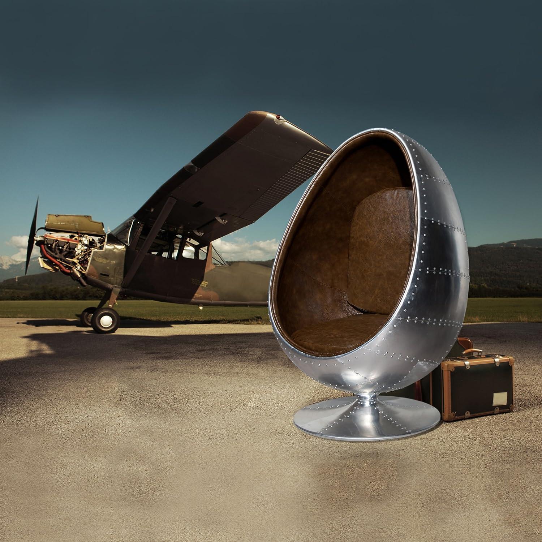 Cagü Retro Lounge Designer Sessel Sitzei Egg Ball Silber Braun