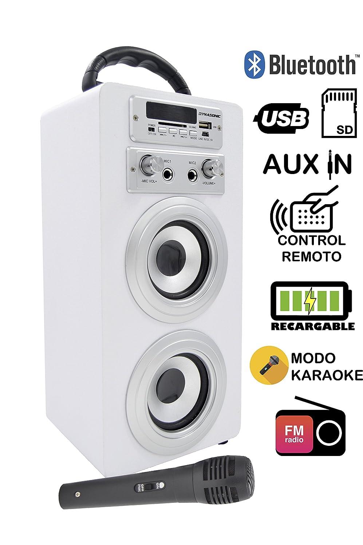 DYNASONIC Haut-Parleur Bluetooth pour Karaoké Microphone, et Radio, modèle Blanc modèle Blanc ELECITI 025-WHITE