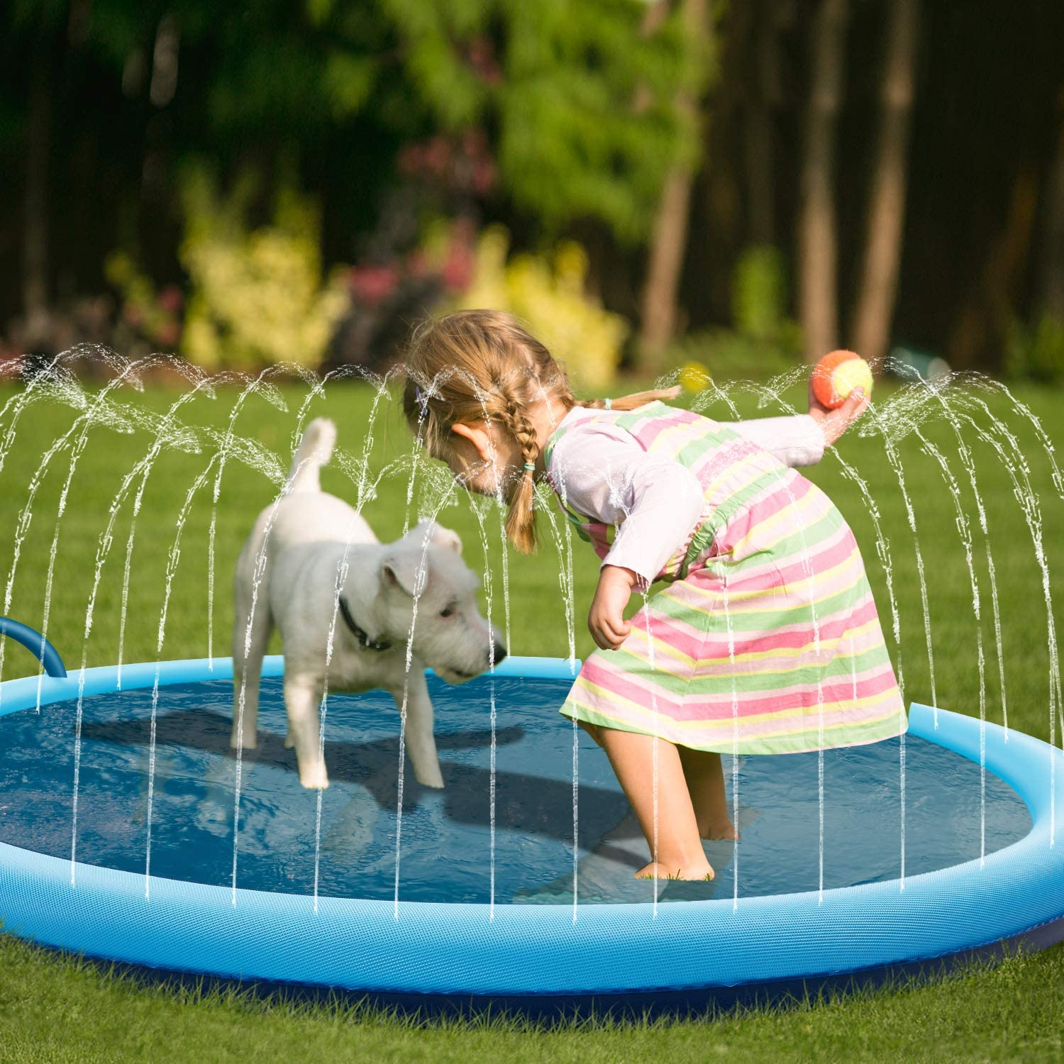 BATURU Splash Pad for Dogs & Toddlers, Dog Bath Pool Super Anti-Slip & Durable Sprinkle Pad for Summer Outdoor Water Toys