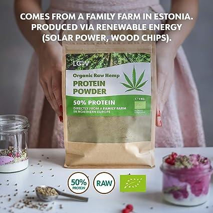 Polvo de proteína de cáñamo crudo orgánico LOOV, 1 kg, 50% de proteína, Nutrientes conservados, Rico sabor a nuez, Cultivado en clima nórdico, Polvo ...