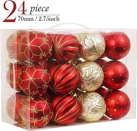 4 balles en plastique décorations de Noël rouge Ange