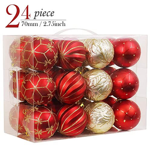 valery madelyn 24pcs 277cm luxury red and gold christmas baubles ornaments shatterproof - Red And Gold Christmas Decorations