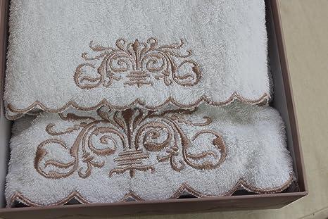 Blanc Mariclo - - Juego de toallas de baño blancas bordadas Monique Collection: Amazon.es: Hogar