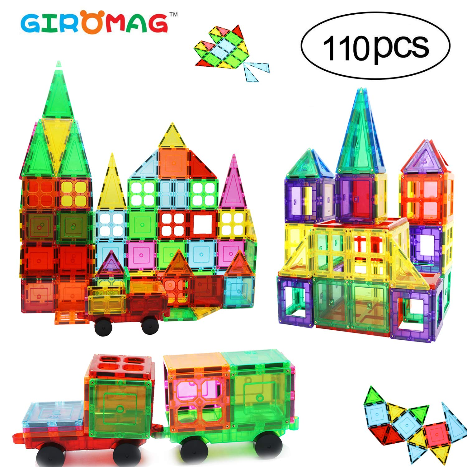 Giromag Magnet Stick and Stack 110pcs - Educational 3D Magnet Blocks Building for Toddlers Kids, Magnet Set Magnetics Stem Toys - Enhance Creativity by Giromag
