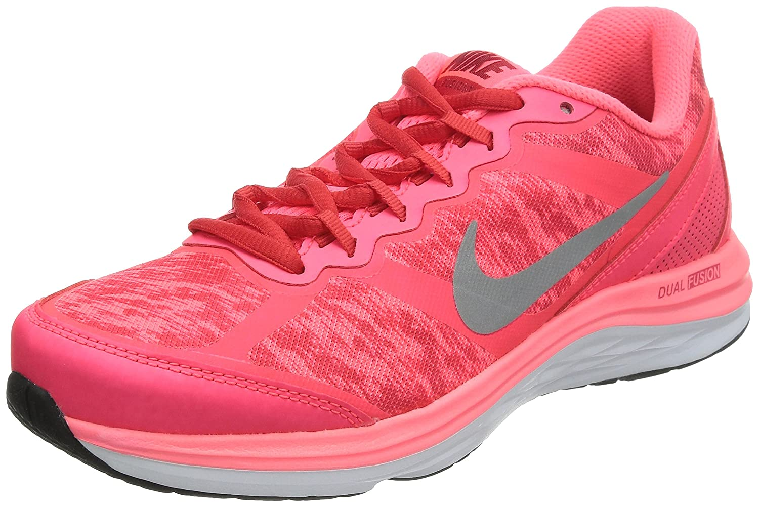 finest selection 226f8 5824e Amazon.com   Nike Dual Fusion Run 3 Flash Womens Running Trainers 685144 Sneakers  Shoes (UK 4.5 US 7 EU 38, Hyper Punch Reflective Silver Action red 601) ...
