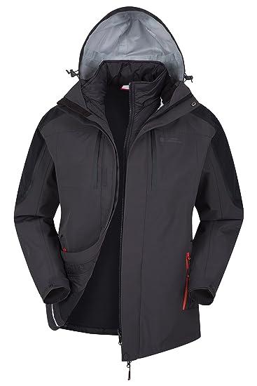 5c9ed08f2 Mountain Warehouse Zenith II Mens 3 in 1 Jacket - Waterproof Rain Jacket,  Warm, Breathable Spring Mens Coat, Taped Seams, Hooded, Underarm Zips - for  ...