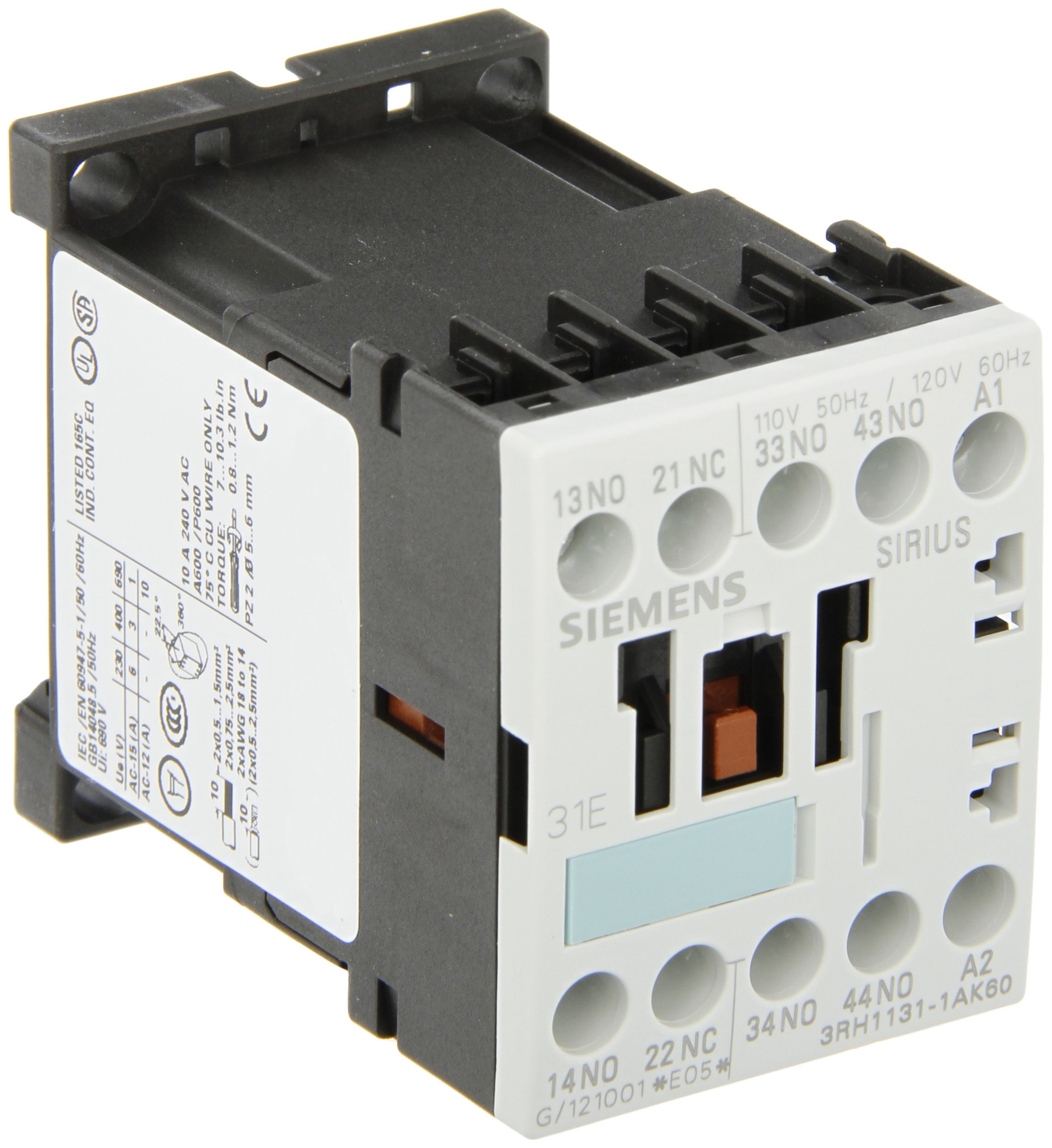 Siemens 3RH11 31-1AK60 Control Relay, Size S00, 35mm Standard Mounting Rail, AC Operation, Screw Connection, 31 E Identification Number, 3 NO + 1 NC Contacts, 120 V 60 Hz Control Supply Voltage