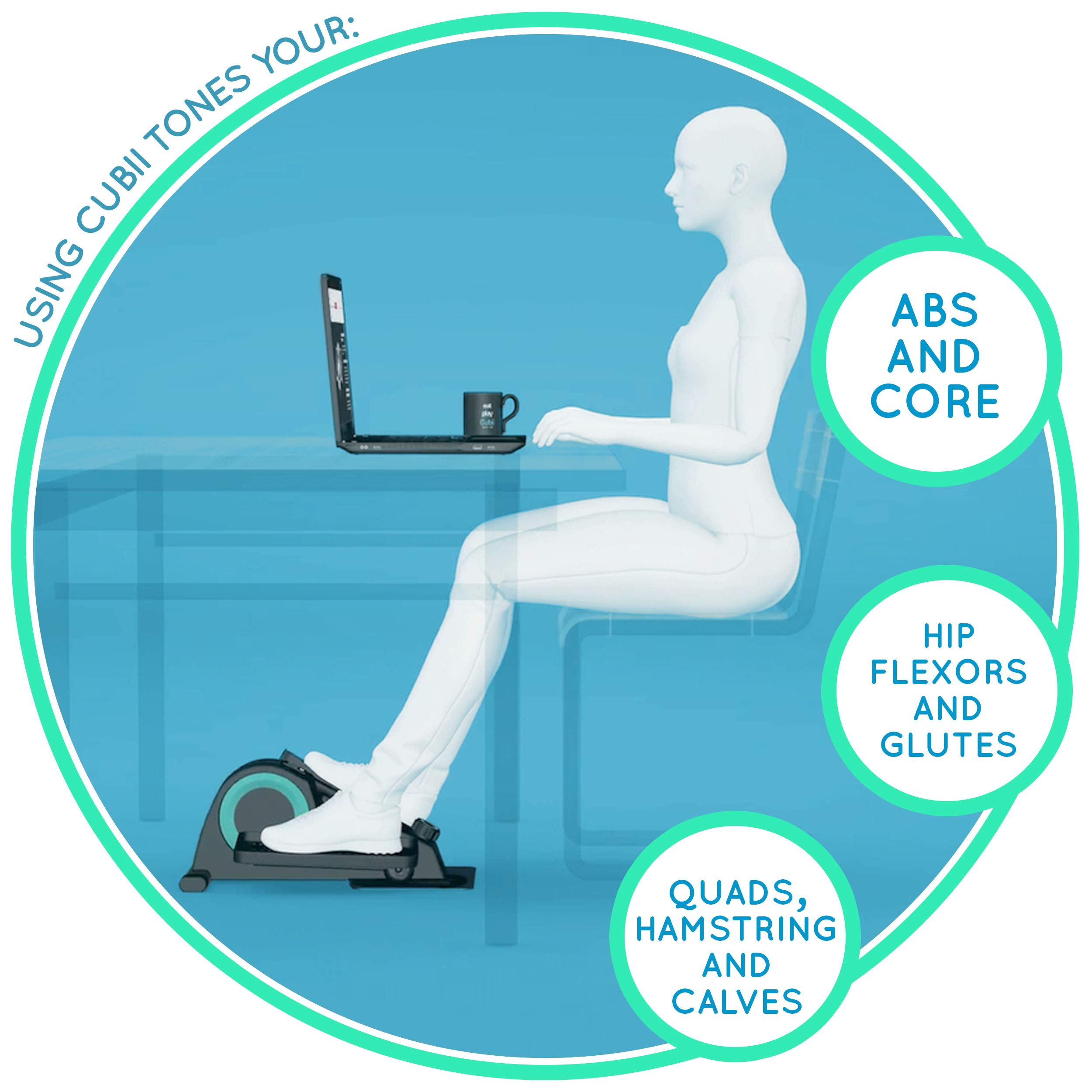 Cubii Pro Under Desk Elliptical, Bluetooth Enabled, Sync with Fitbit and HealthKit, Adjustable Resistance, Easy Assembly (Noir) by Cubii (Image #6)