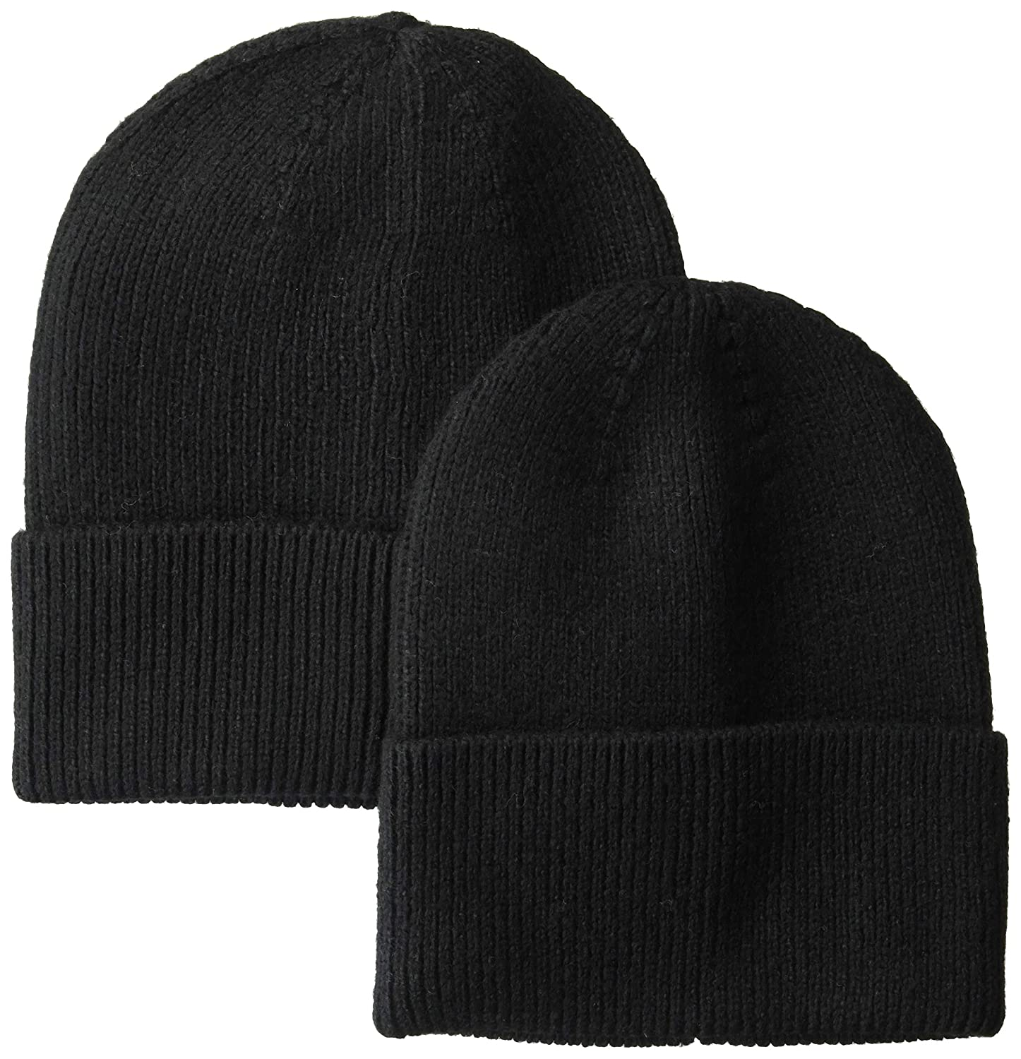 5ee3fd53e9c779 Amazon.com: Amazon Essentials Men's 2-Pack Knit Beanie Hat Black, One Size:  Clothing