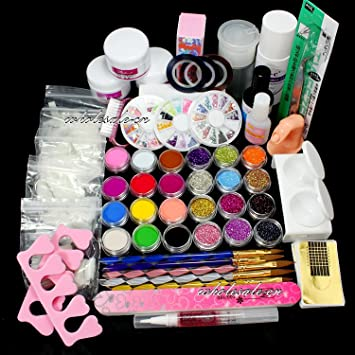 Amazon excellent gift full nail art set acrylic glitter full nail art set acrylic glitter powder primer tip brush glue dust prinsesfo Choice Image