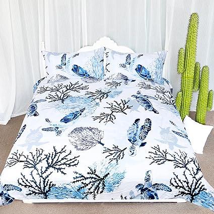 Amazon Com Arightex Honu Sea Turtle Bedding White Indigo Hawaiian