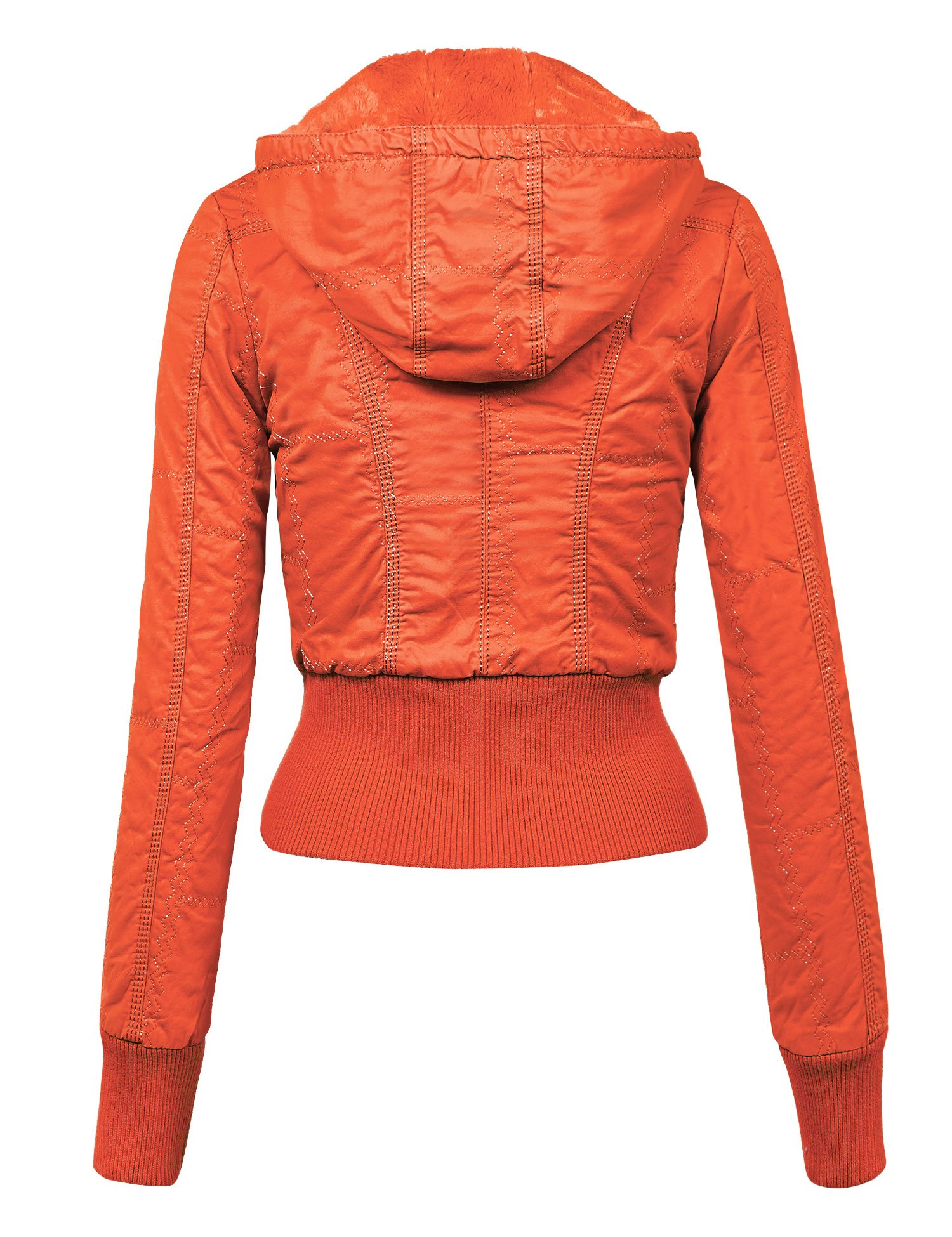 WJC1004 Womens Casual Inner Fleece Bomber Jacket with Removable Hoodie L CORAL by Lock and Love (Image #2)