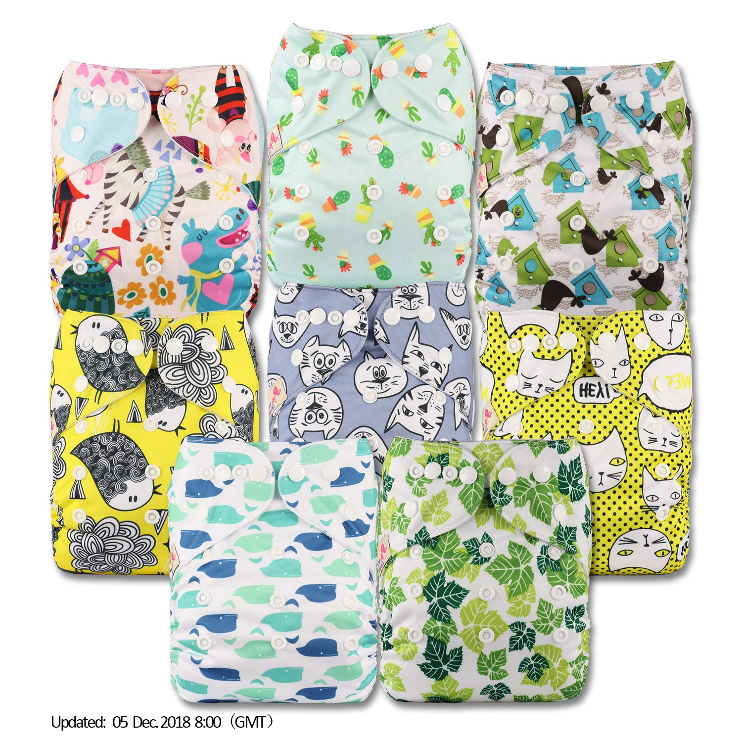 Littles & Bloomz, Reusable Pocket Cloth Nappy, Fastener: Popper, Set of 8, Patterns 808, With 16 Bamboo Inserts