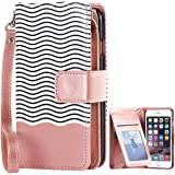 iPhone 6S Plus Case, iPhone 6 Plus Case, BENTOBEN iPhone 6 Plus Wallet Case Faux Leather Magnetic Flip Credit Card Holder Wristlet Protective Case for iPhone 6 Plus / 6S Plus (5.5 Inch), Rose Gold